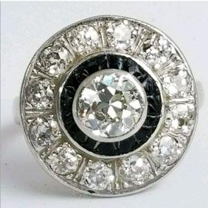 Jewelry - Antique  1.57tcw Diamond Enamel Halo 14k Gold Ring